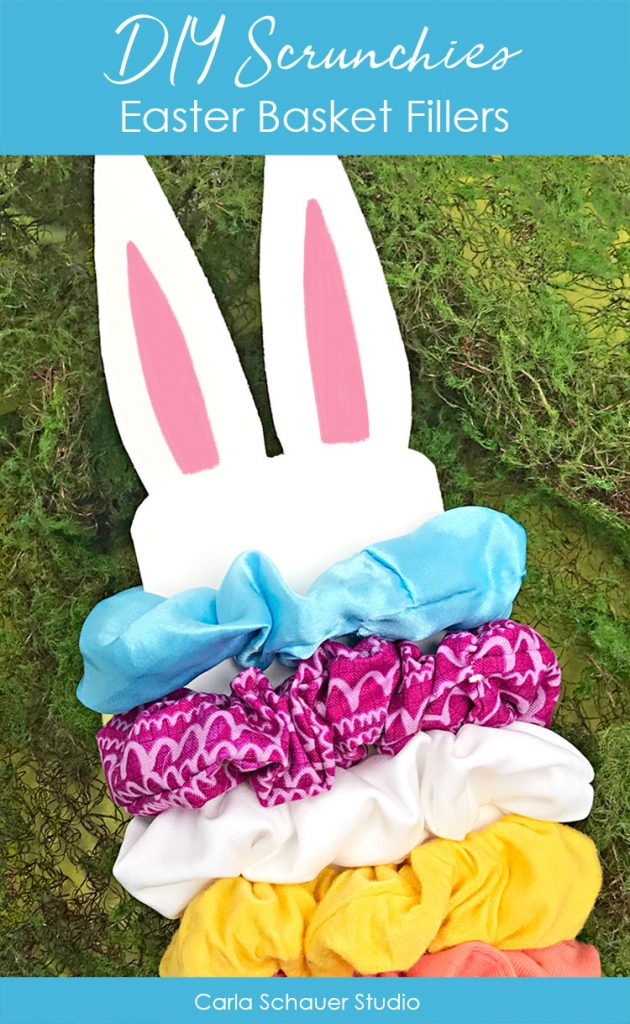 Colorful diy scrunchies on easter rabbit white card.