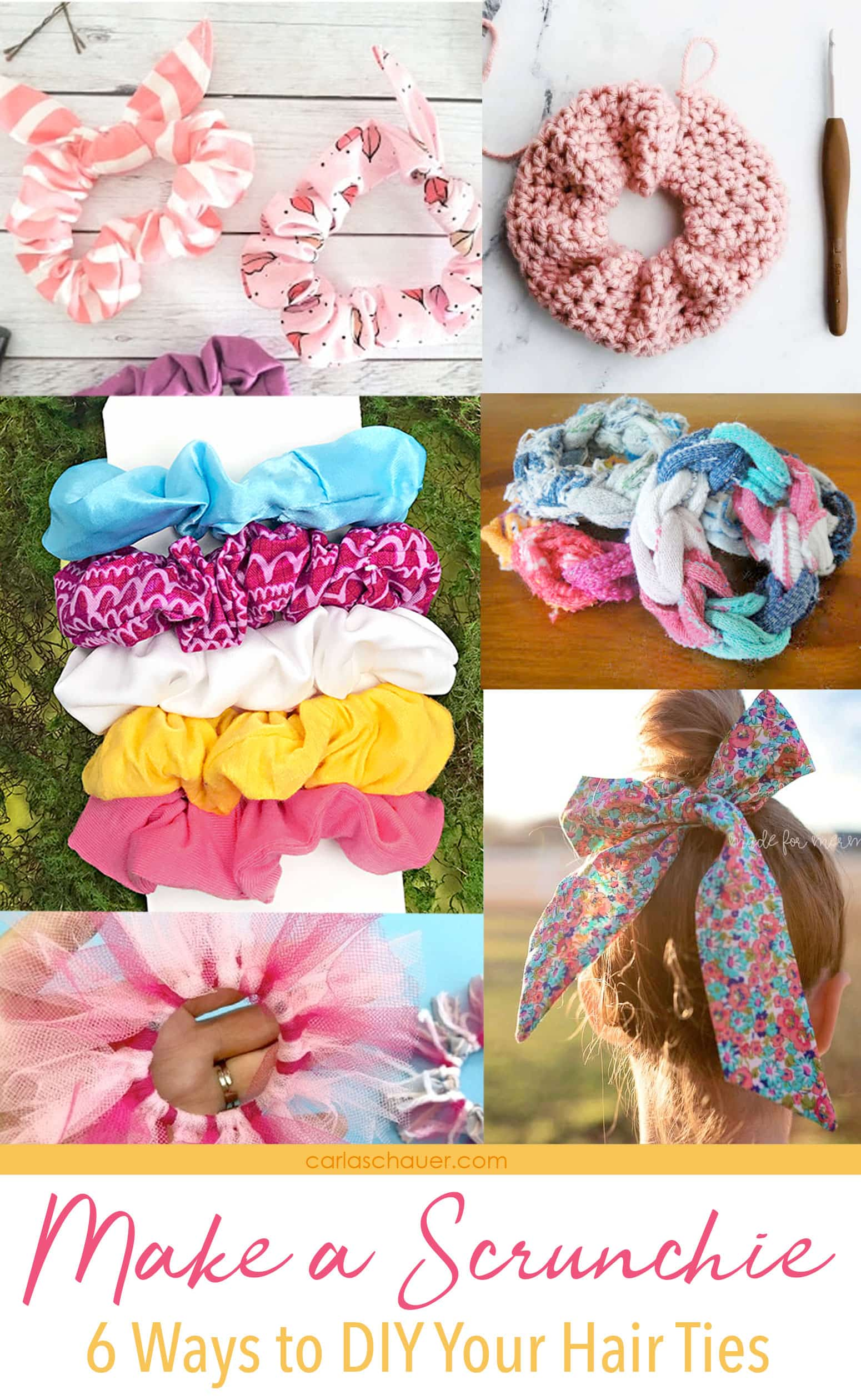 "Handmade DIY Hair scrunchie photo collage with ""Make a Scrunchie"" text overlay."