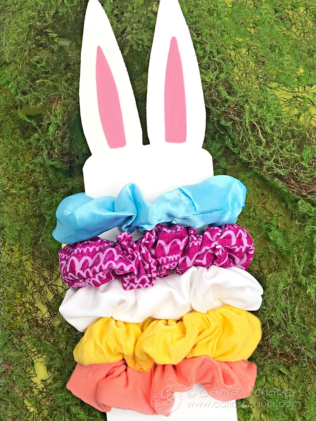 Bunny-shaped card with 5 colorful handmade scrunchies.