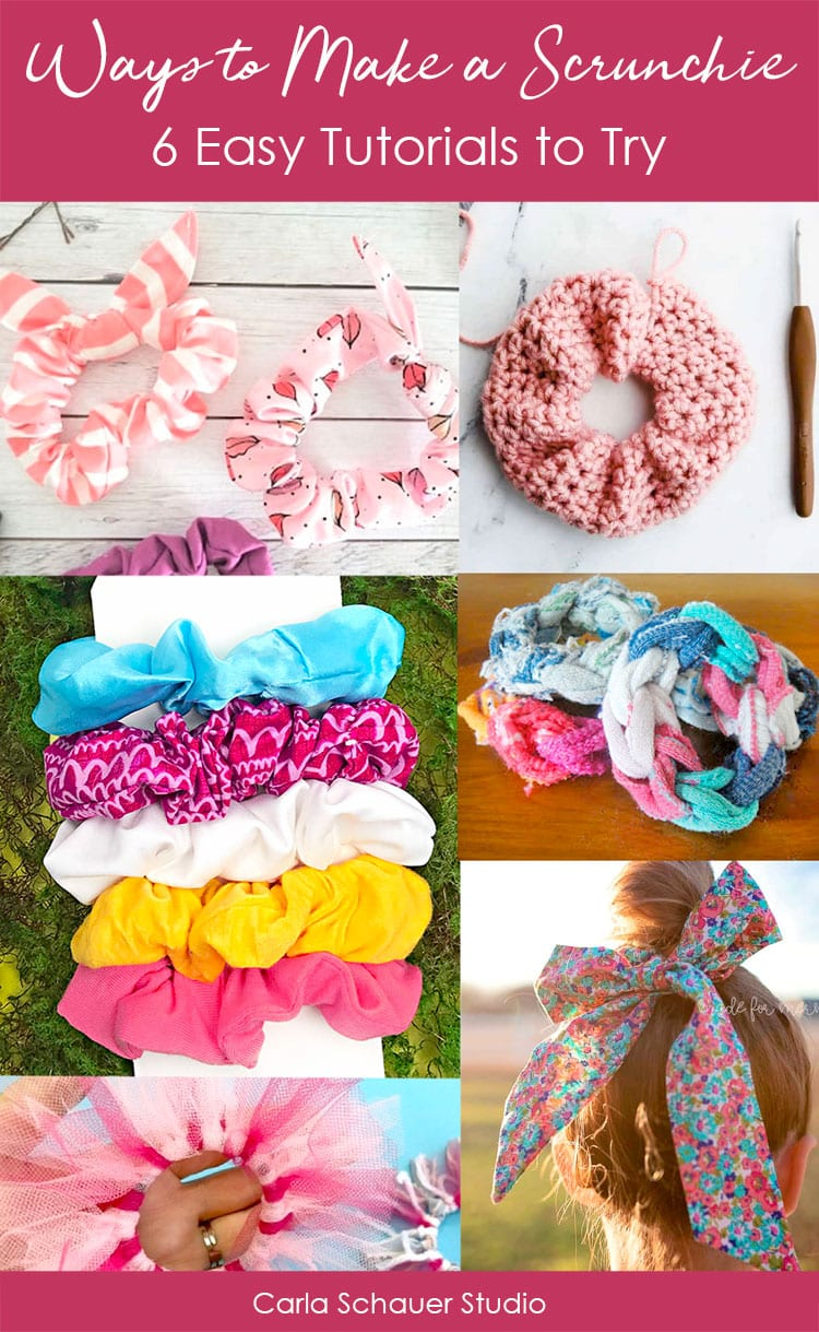 collage of DIY Scrunchies with text overlay