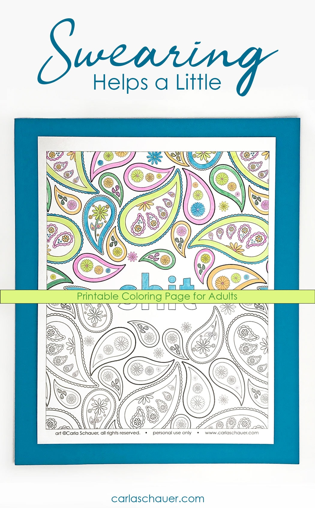 Sweary Cuss Word Coloring Page For Adults Carla Schauer Designs