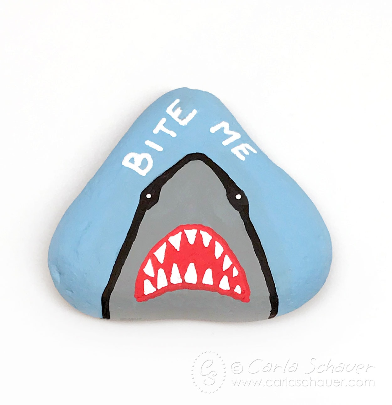 Snarky shark painted rock on white background