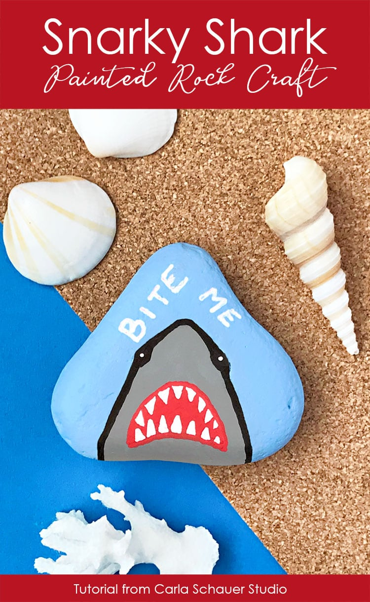 Bite Me Shark on blue background with shells