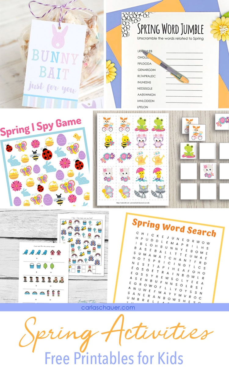 Spring activities printables photo collage.