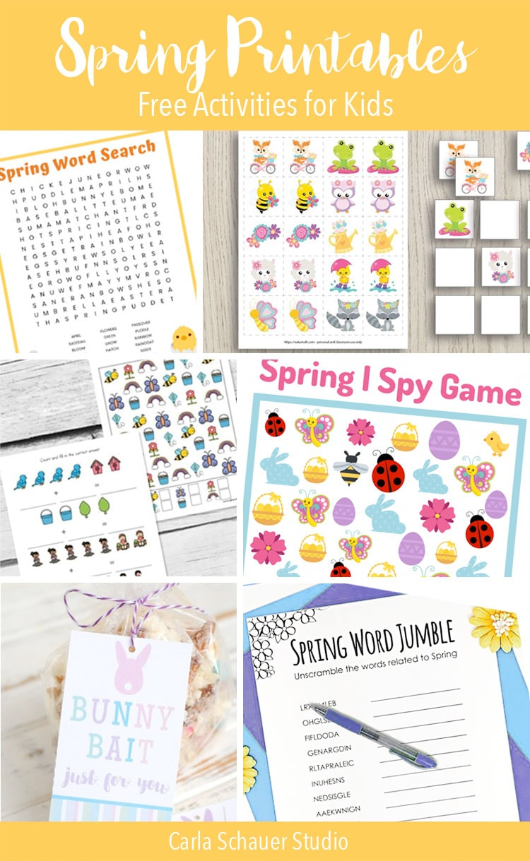 Collage of spring printable activity photos with text description