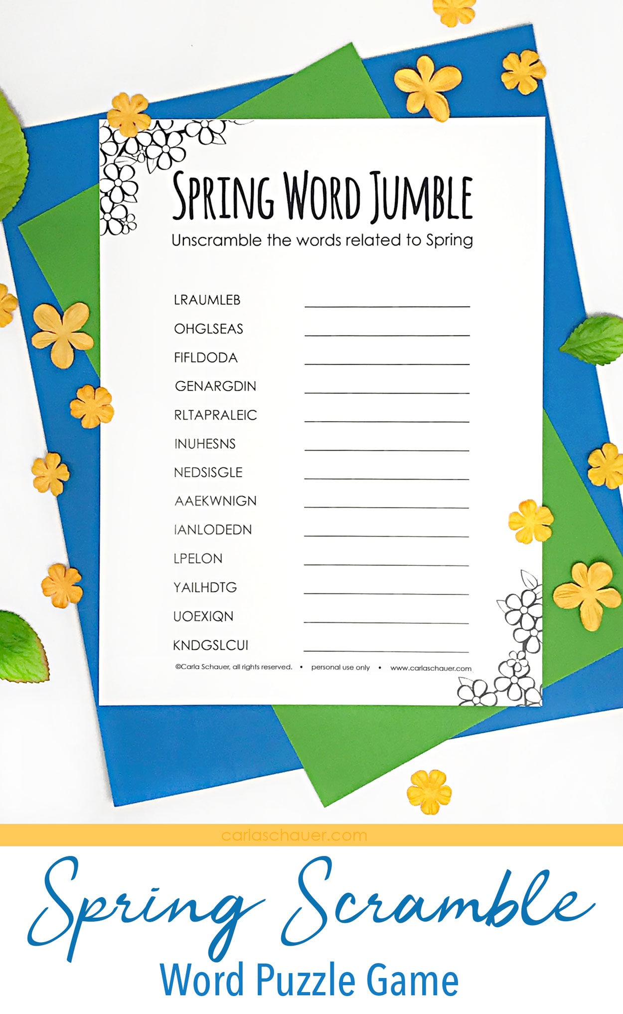 Spring word scramble printable on blue and green paper with yellow flowers