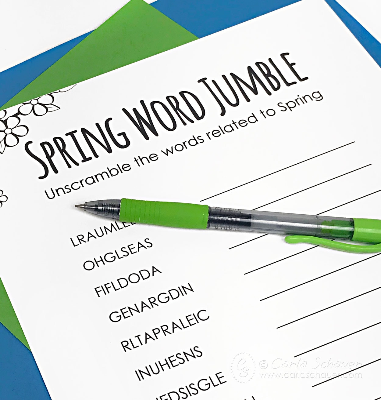 Spring Word Jumble Puzzle with green pen.