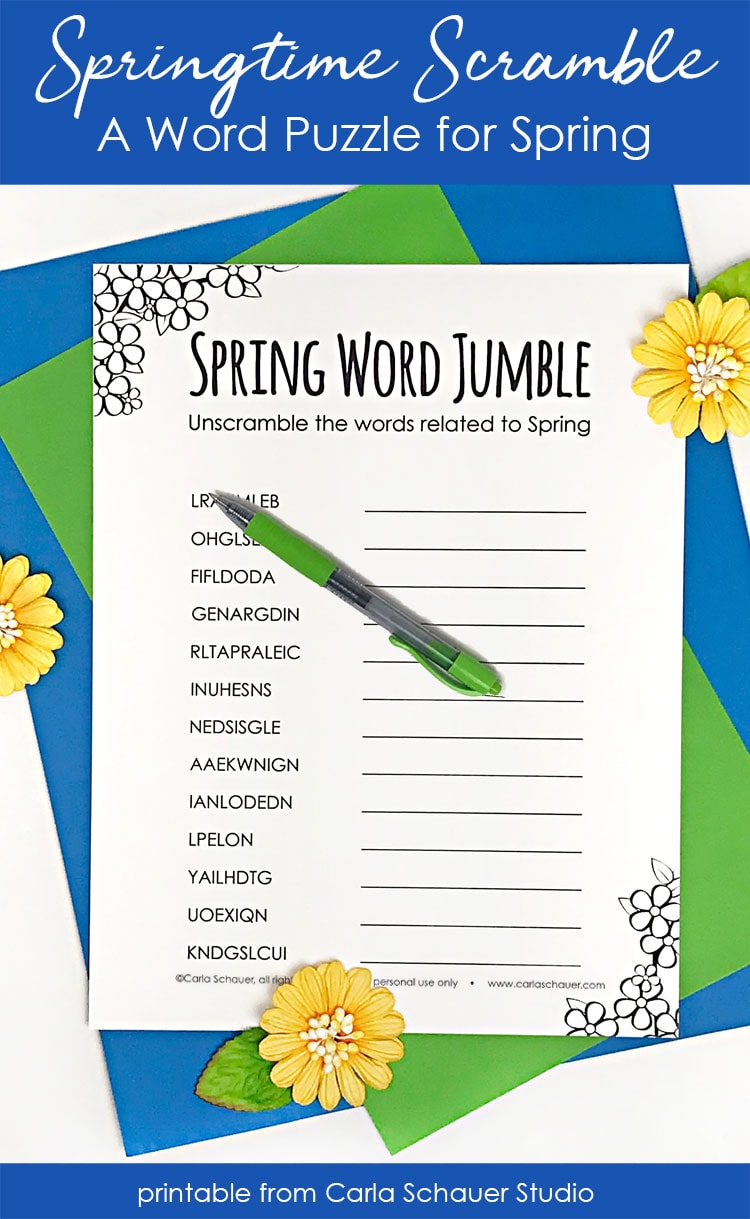 Printable word scramble for spring with text description