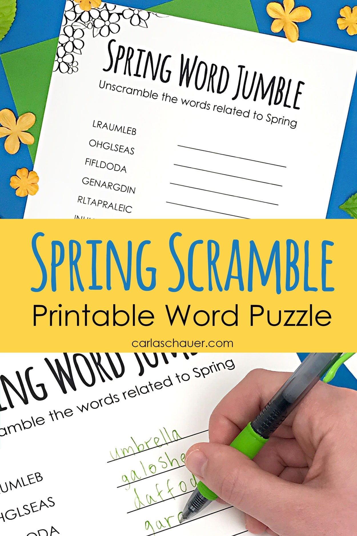 Collage of Spring word scramble photos with descriptive text.