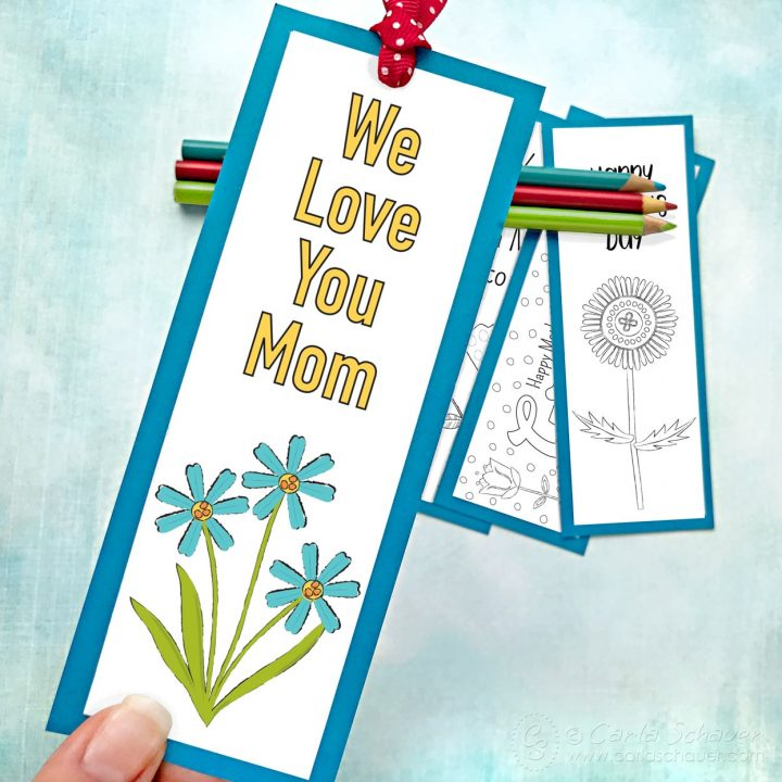 Colored printable Mother's Day Bookmark with other background bookmarks.