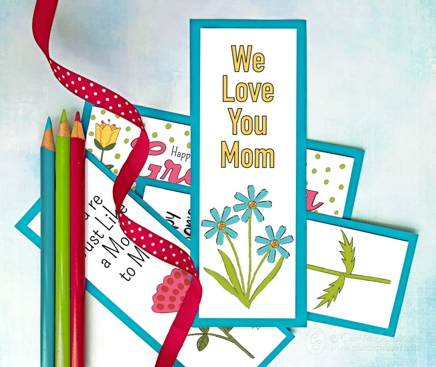 Printable Mother's Day bookmarks with ribbon and colored pencils.