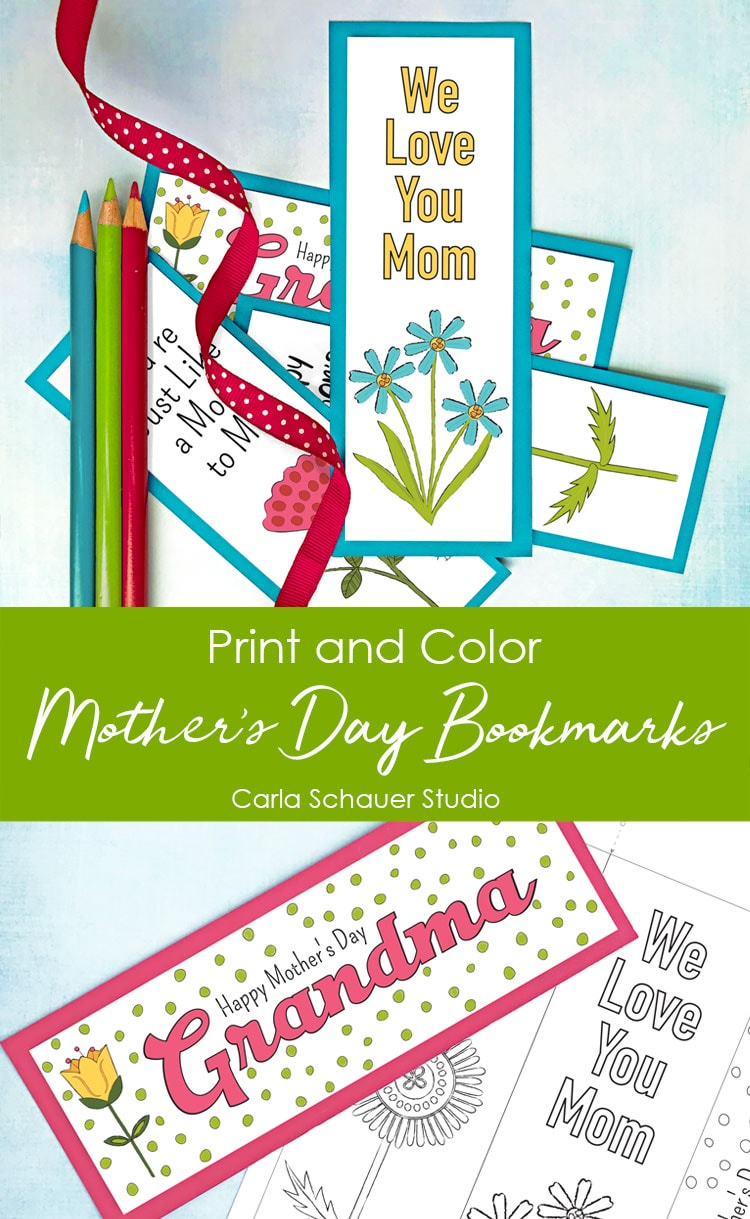 Printable Mother's Day Bookmarks on blue background.
