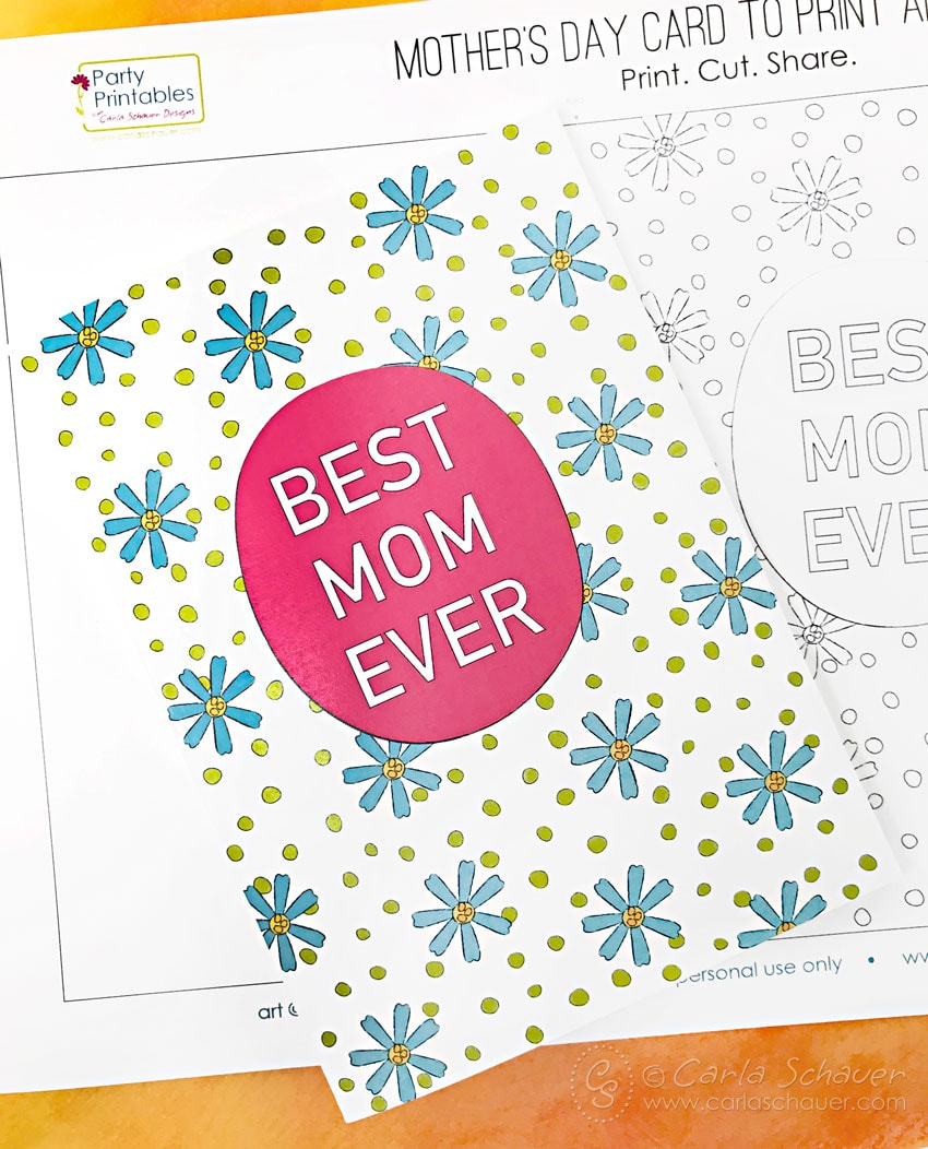 Printable card colored for Mom.
