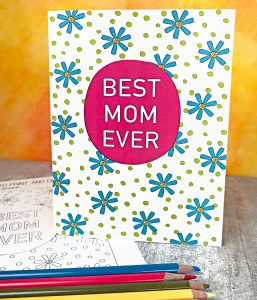 Mother's Day Card to Color with colored pencils
