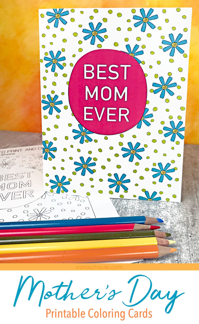Printable Mother's Day coloring card with colored pencils.
