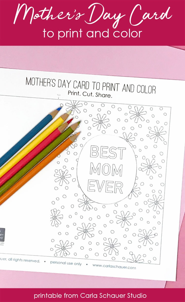 Printable Card for Mom with colored pencils and text ovelay