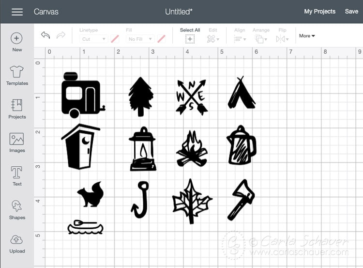 Cutting program example for camping icons.