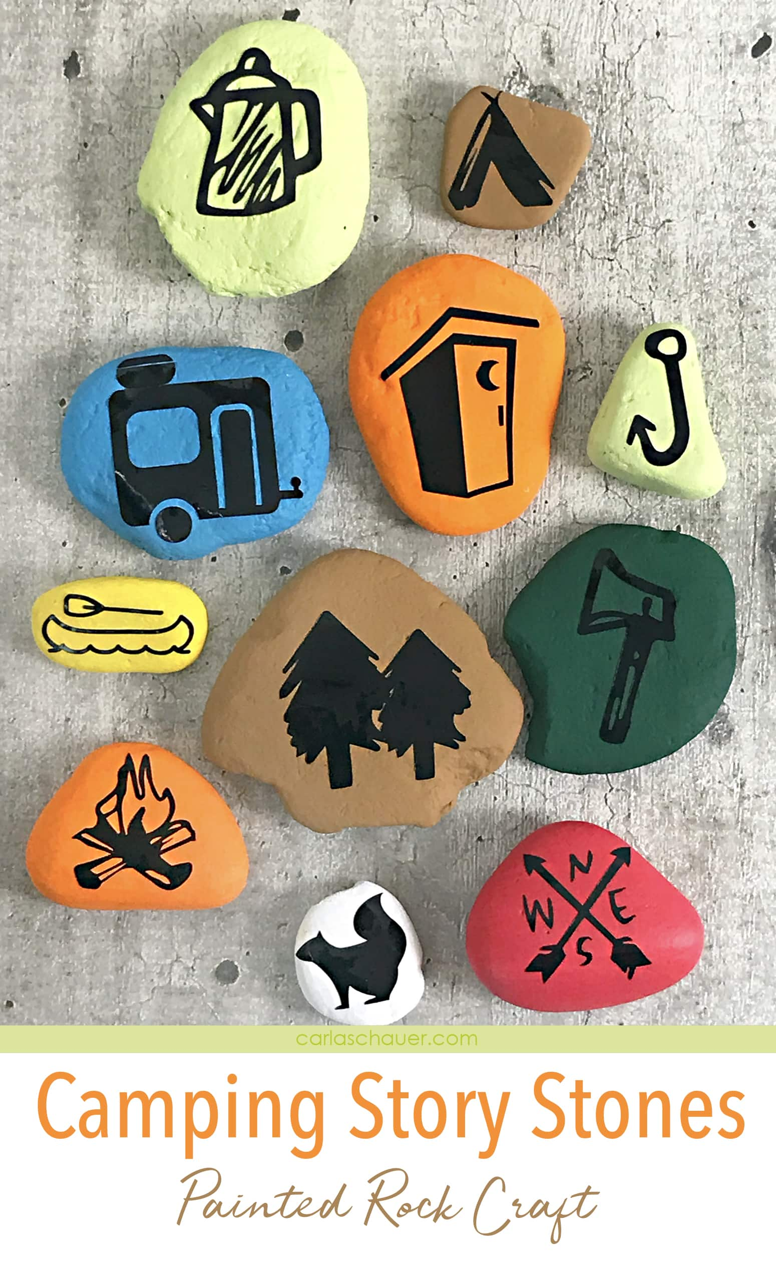 Colorful painted rock camping story stones.