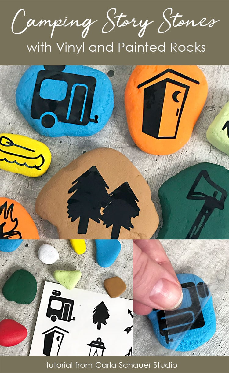 Story stones for camping made from painted rocks, with descriptive text overlay