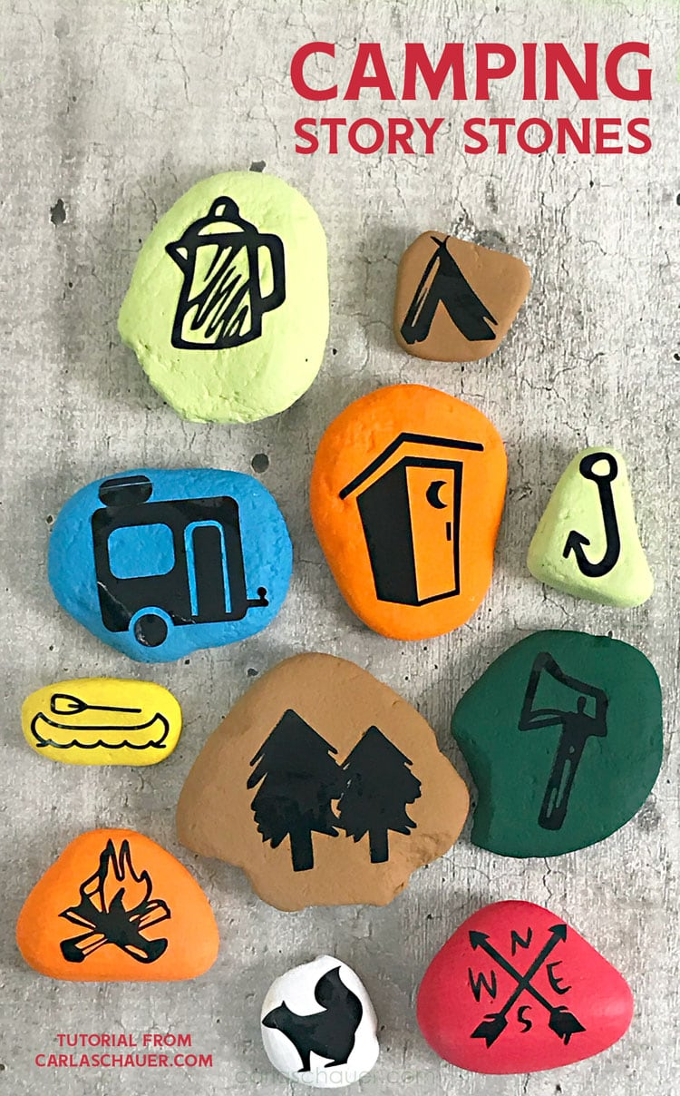 Colorful story stones for camping, with descriptive text overlay.