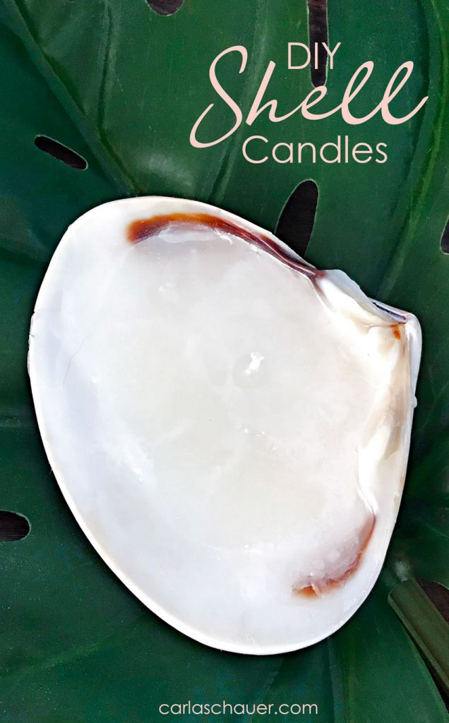 DIY Shell candle on leaf with descriptive text.