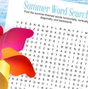 Close up photo of word search with pinwheel toy