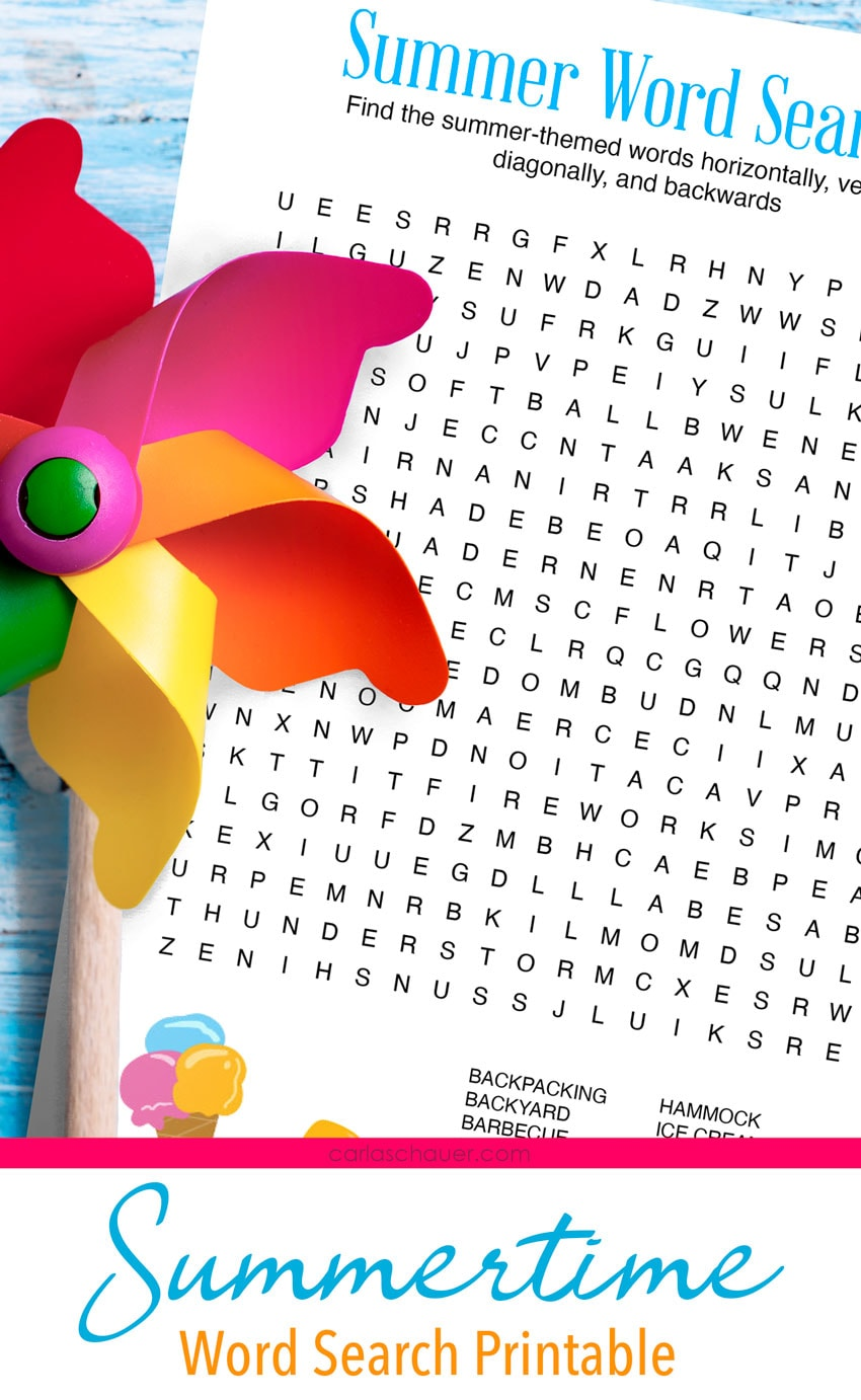 Summer word search printable with pinwheel.
