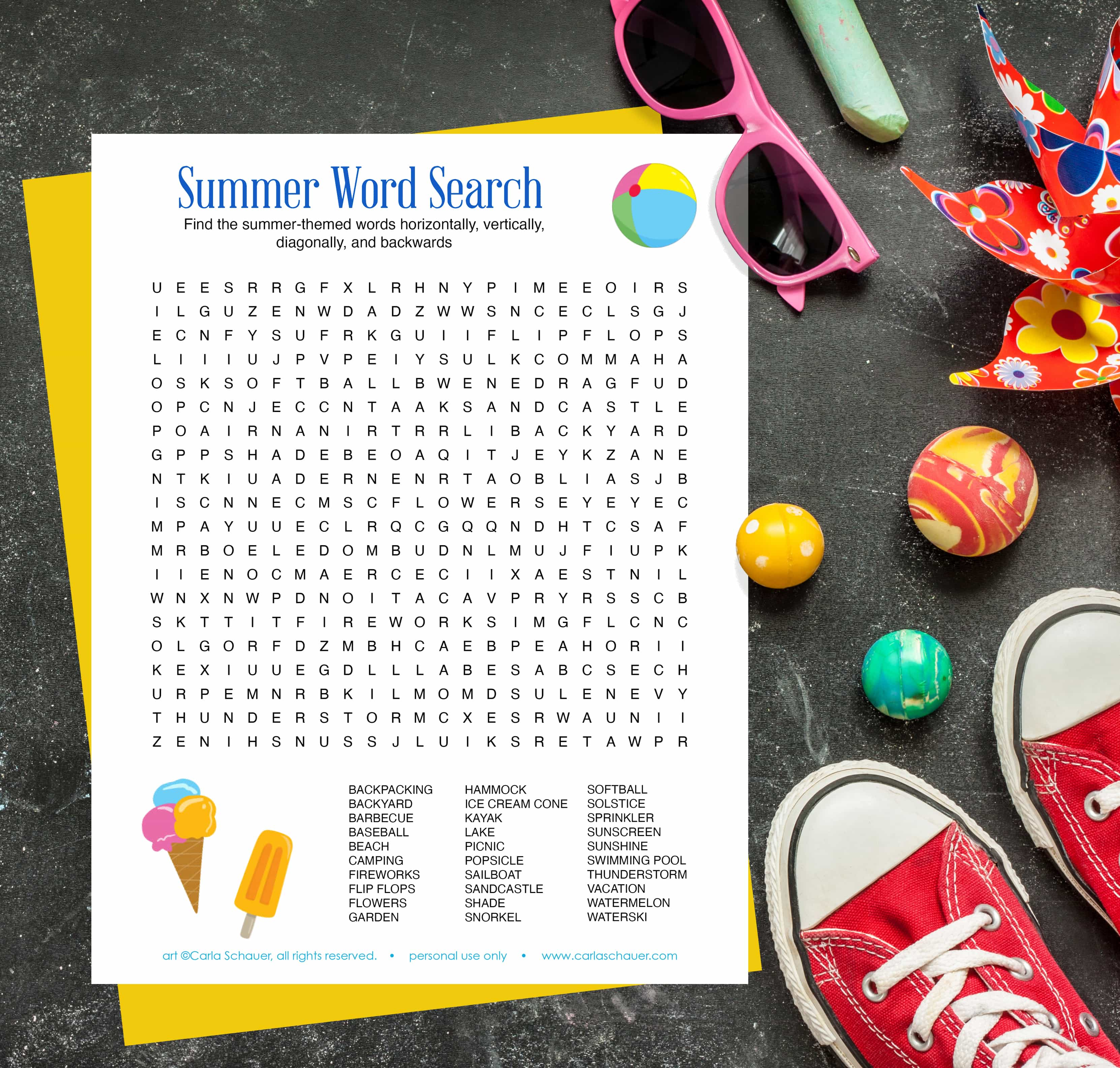 Printable word search with summer kids' toys.