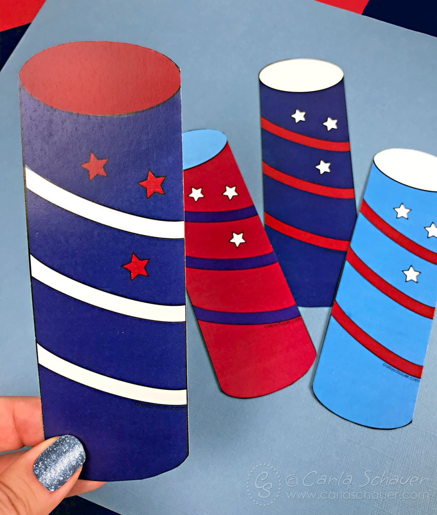 Red, white, and blue firecracker bookmarks.