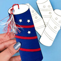 Firecracker Patriotic Bookmark Printable for Coloring