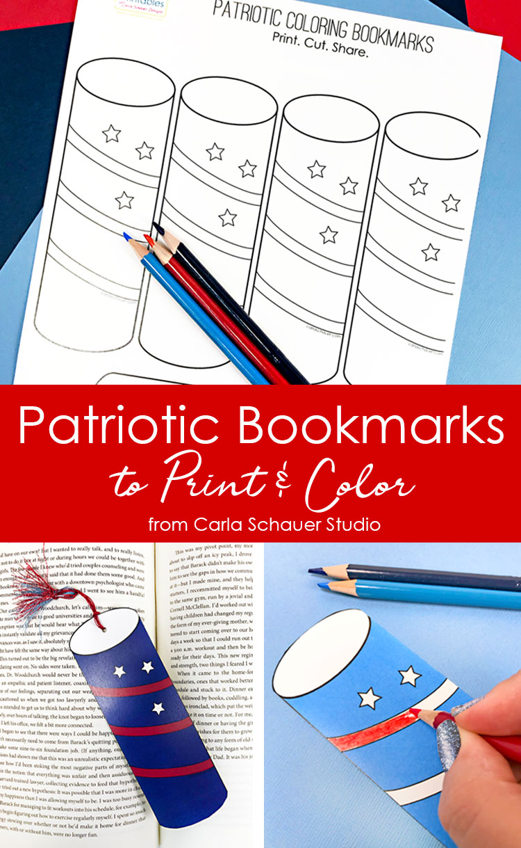 Collage of printable bookmark patriotic craft photos with descriptive text overlay.