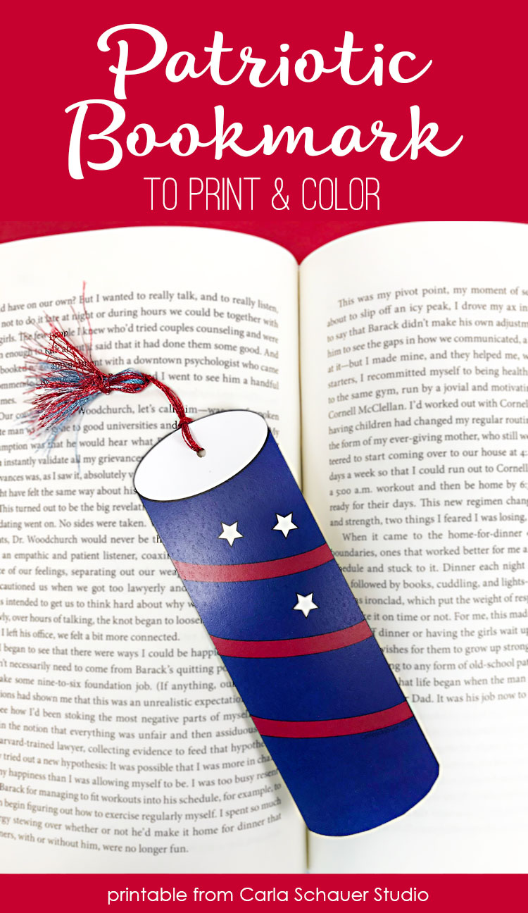 Firecracker bookmark laying on book pages with descriptive title.