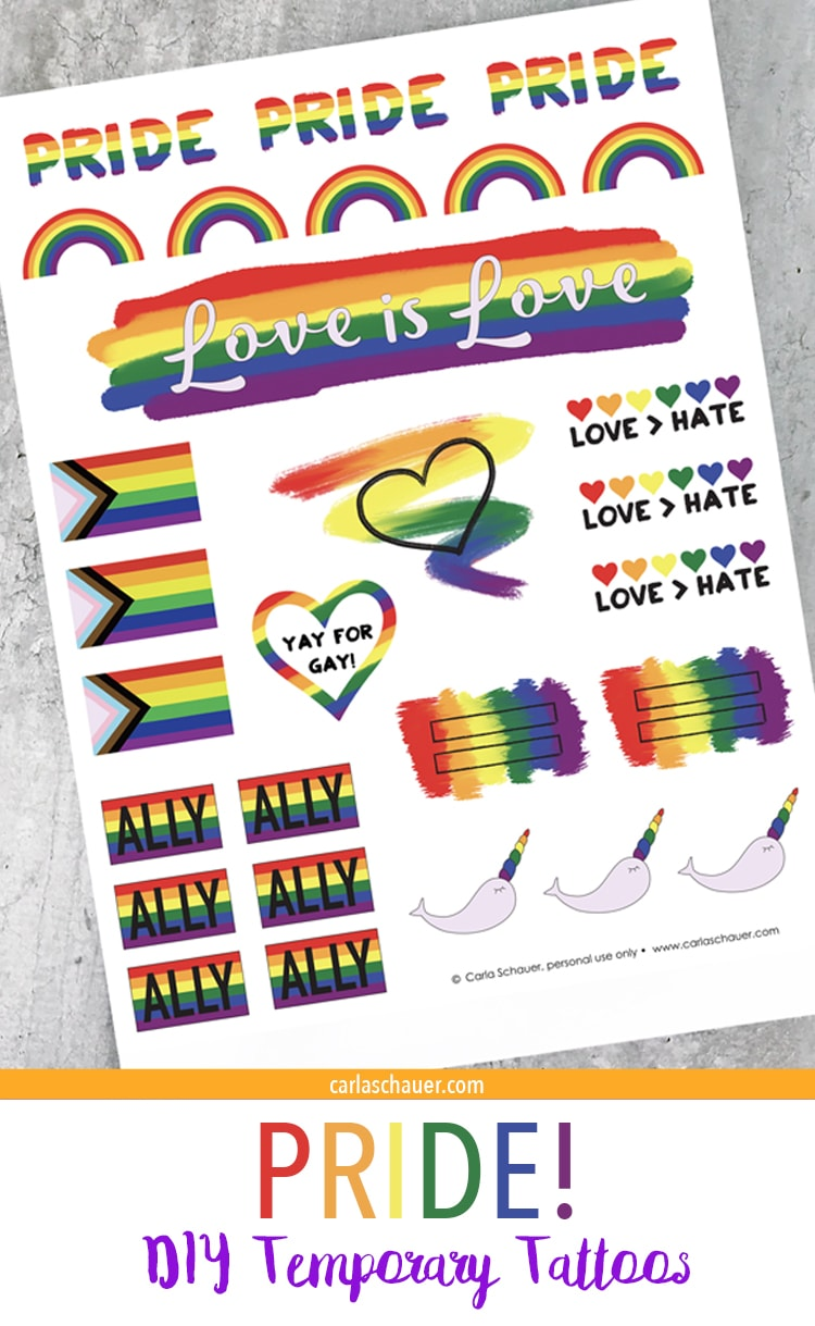 Sheet of Printed Pride Tattoos with descriptive text.