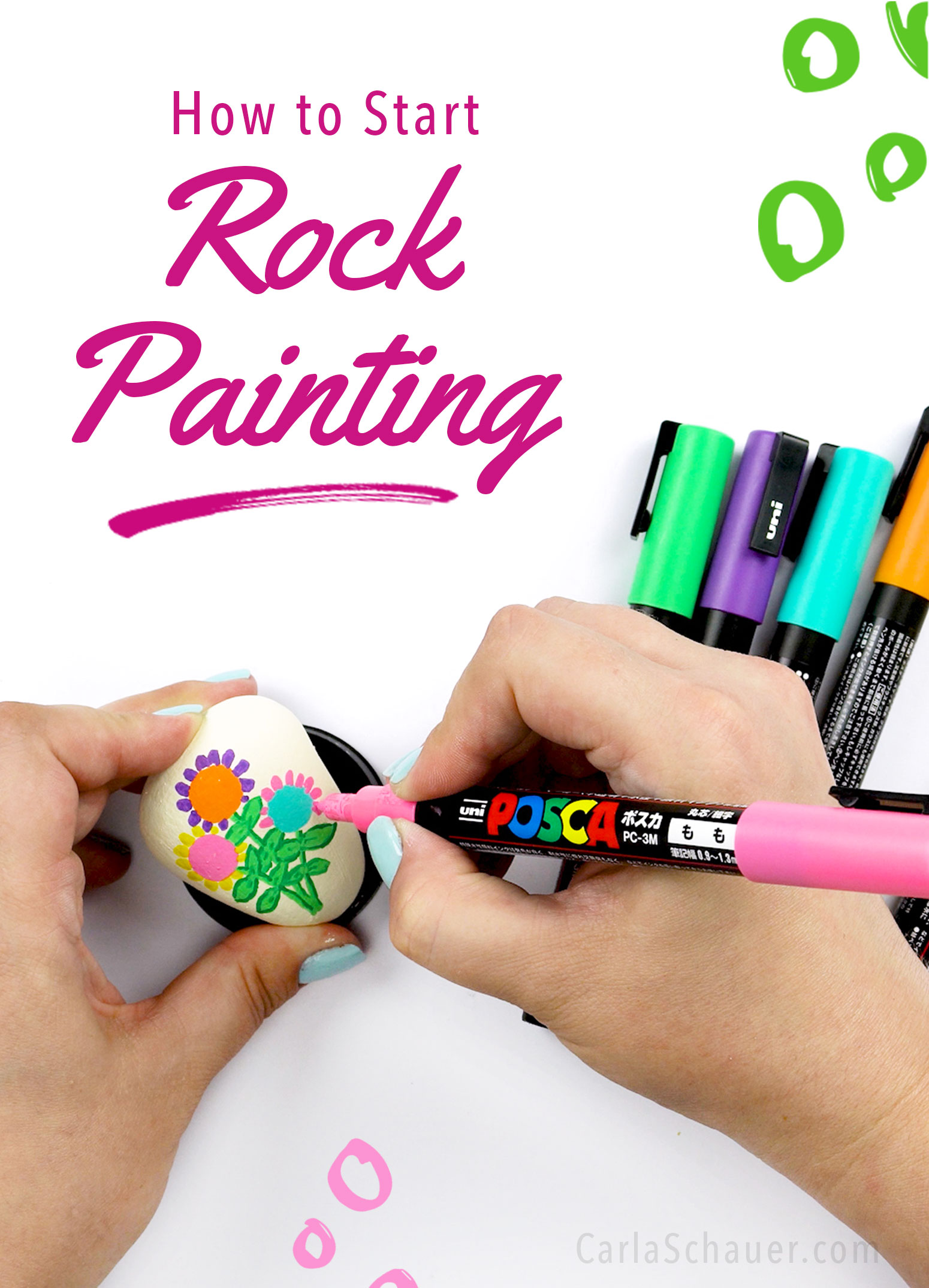 "Hands painting a rock with a flower design, with text overlay reading ""How to Start Rock Painting""."
