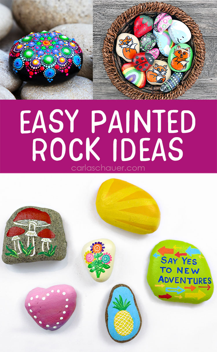 "Collage of colorful painted rock photos with text overlay that reads ""Easy Painted Rock Ideas""."