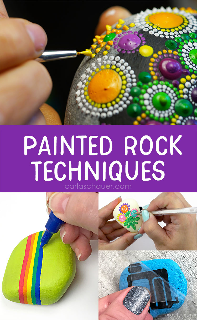 "Photos of hands applying paint decorations to rocks, with ""Painted Rock Techniques"" Text overlay."