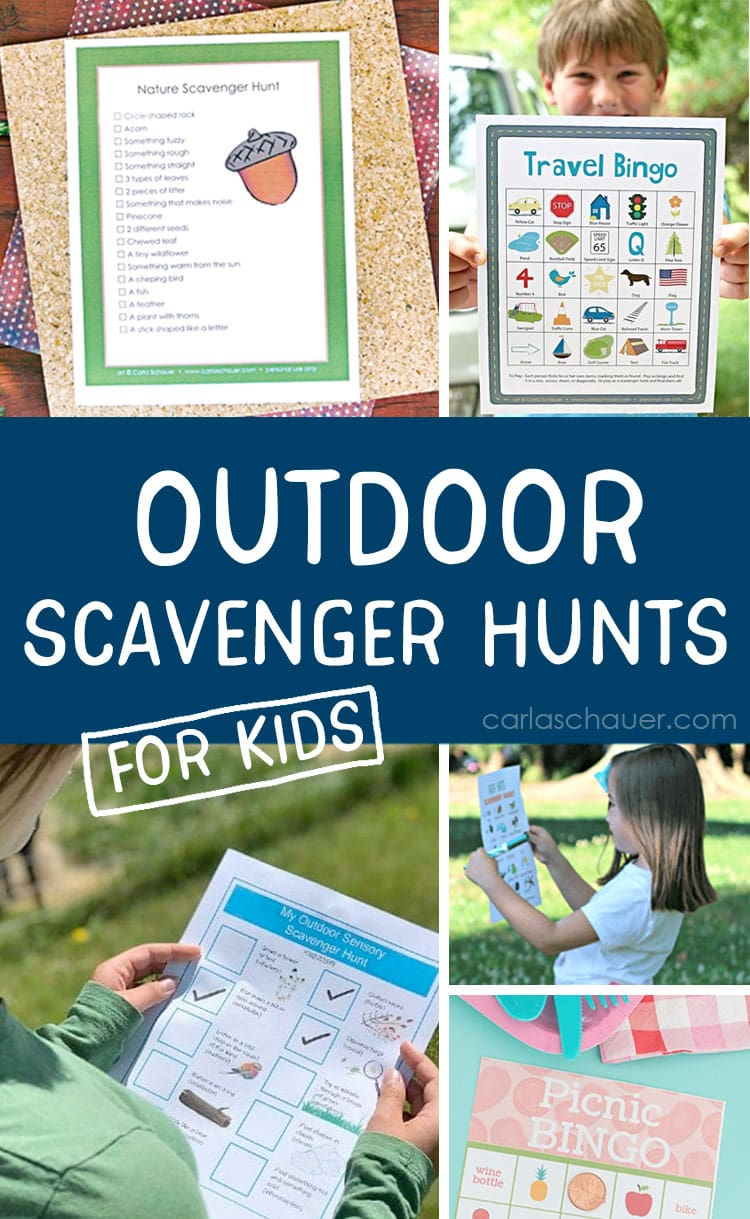 Collage of Outdoor scavenger hunts for kids photos with descriptive text overlay.