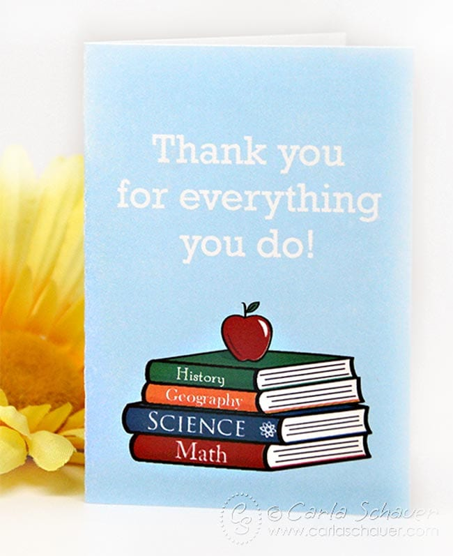Teacher appreciation thank you mini-card with stacked books image.