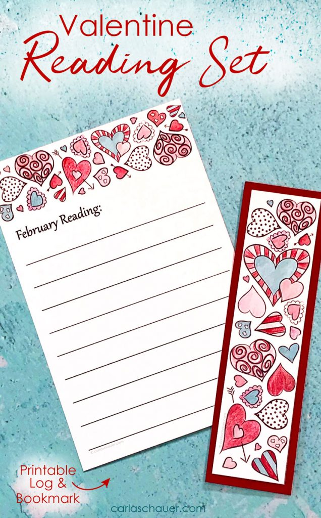 "Printable February reading log and bookmark set, colored in red, pink, and teal, on a teal background. Text overlay reads ""Valentine Reading Set."""
