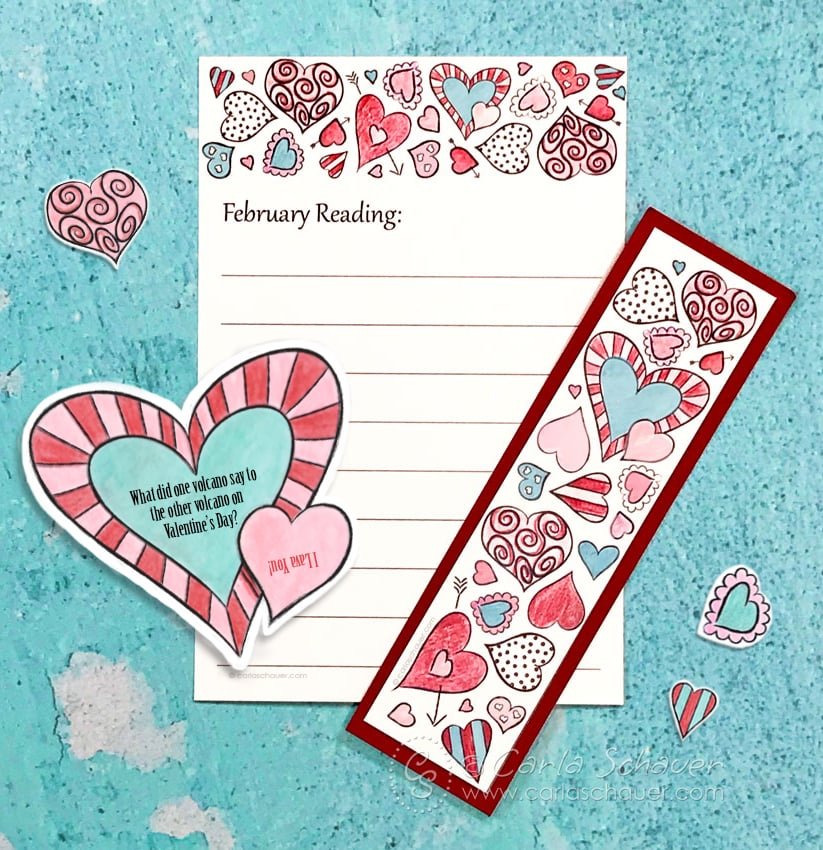 Printable February reading log and bookmark set, colored in red, pink, and teal, on a teal background.