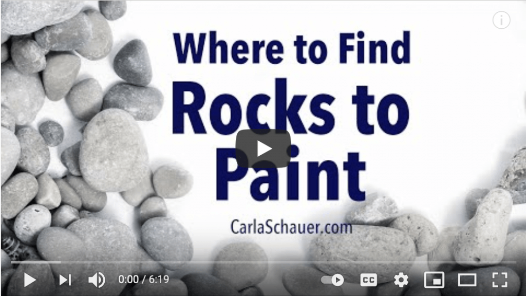 """Screen capture of video ready to play. Text on capture screen reads """"Where to Find Rocks to Paint"""""""