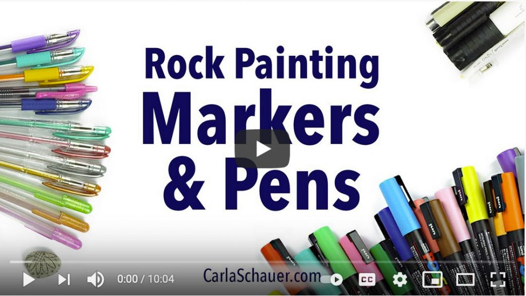 """Image of video title screen from YouTube video. Title text overlay reads """"Rock Painting Markers & Pens""""."""