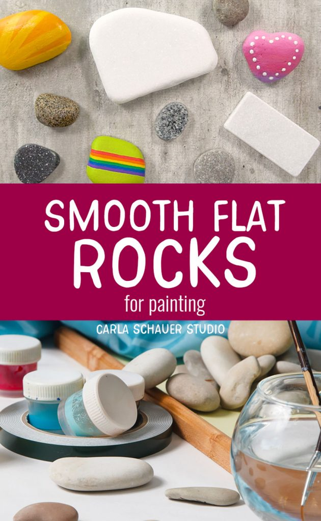 """Collage of painted and unpainted rock photos with red rectangle text box between. Text reads """"Smooth flat rocks for painting."""""""