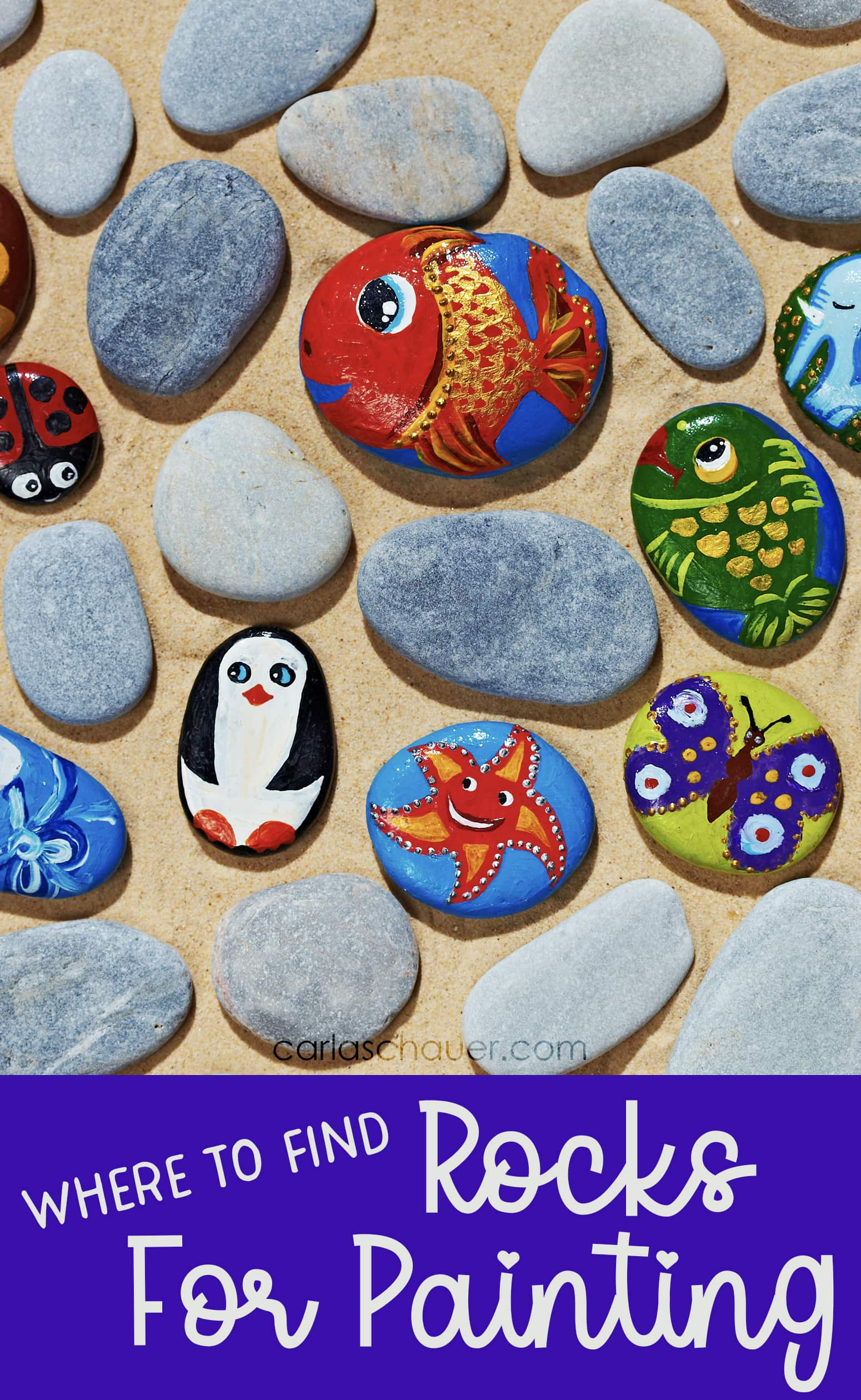 """A mix of animal painted and unpainted flat stones. White text on blue background at bottom reads """"Where to Find Rocks for Painting."""""""